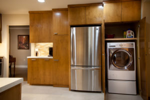 Custom Cabinets in Kitchen and Stainless Steel Refrigerator