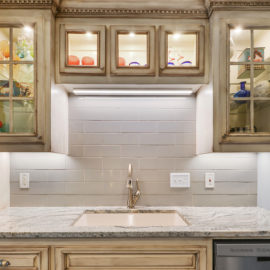 Glass Door Cabinets and Backsplash